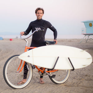 MBB Shortboard Rack by Moved By Bikes, Ride your bike to the beach, quick release bars for shortboards