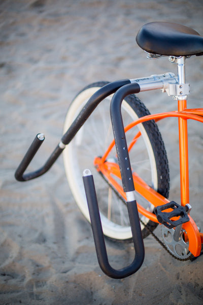 MBB Shortboard Rack by Moved By Bikes, Ride your bike to the beach, quick release bars for shortboards.  Seatpost mount.  Rack only