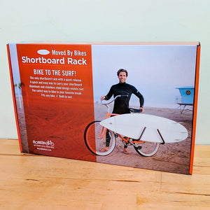 MBB Shortboard Rack by Moved By Bikes, Ride your bike to the beach, quick release bars for shortboards.  Boxed Product standard packaging