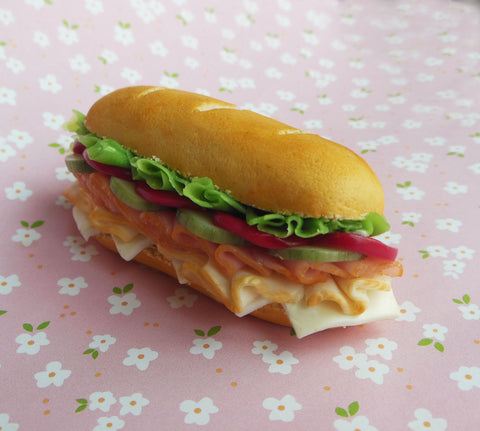 Sub Sandwich Ham and turkey Food Magnet