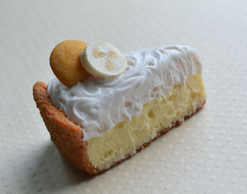 Banana Cream Pie Miniature Food Magnet, Polymer Clay