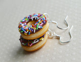 Chocolate Doughnut with Rainbow Sprinkles Hook Earrings