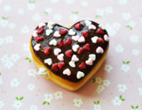 Chocolate Heart Sprinkles Polymer Clay Doughnut Magnet