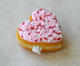 Polymer Clay Heart Shaped Doughnut Valentine's Day Pink Sprinkles