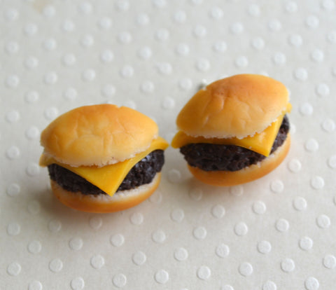 cheeseburger post earrings
