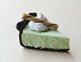 Grasshopper Mint Chocolate Pie Slice Mini Food Fridge Magnet, Polymer Clay