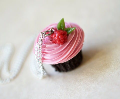 Raspberry Buttercream Chocolate Cupcake Necklace Polymer Clay Miniature