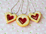 Linzer Cookie Necklace, Miniature Food Necklace, Polymer Clay