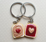 Peanut Butter and Jelly Best Friend Key chain Set, Strawberry, I Heart You