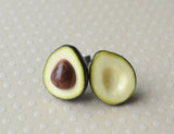 Avocado Post Earrings, Polymer Clay Miniature Food Jewelry Stud Earrings
