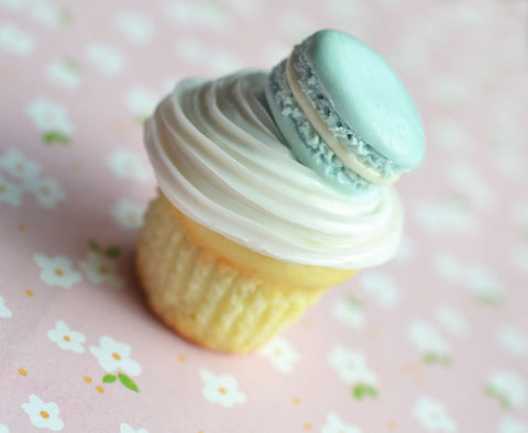 French Macaron Vanilla Cupcake Magnet, Polymer Clay Miniature Food