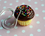 Chocolate Cupcake with Sprinkles Necklace, Polymer Clay