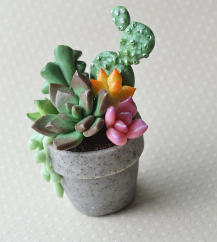 Mini Plant Polymer Clay Succulent Pot Magnet, JOY