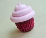 Mini Red Velvet Cupcake Magnet with Pink Frosting, Polymer Clay Mini Food Magnet