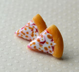 Cheese Pizza Slice Post Earrings, Polymer Clay Mini Food Stud Earrings
