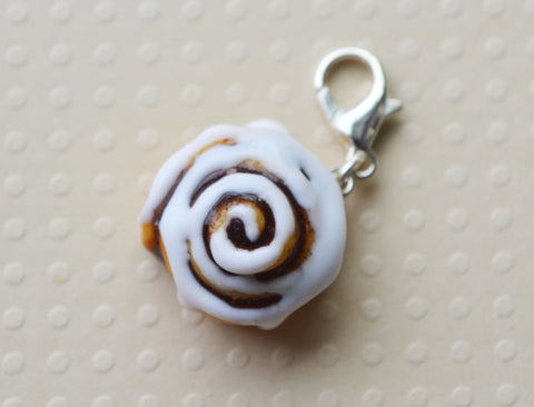 Cinnamon Roll Charm, Key Chain, Stitch Marker, Polymer Clay Miniature Food