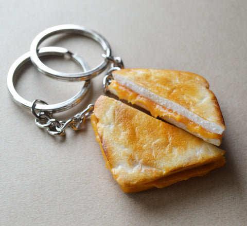 Grilled Cheese Sandwich Best Friend Key Chain Set