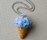 Cotton Candy Ice Cream Cone Necklace, Polymer Clay Mini Food Necklace