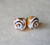 Cinnamon Roll Post Earrings, Polymer Clay