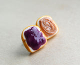 grape peanut butter and jelly sandwich post earrings, polymer clay