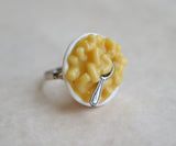 Macaroni and Cheese Polymer Clay Adjustable Ring