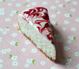 Raspberry Swirl Cheesecake Slice Miniature Foodie Fridge Magnet, Polymer Clay
