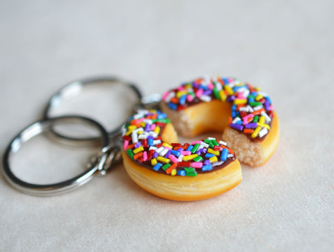 Doughnut Half Friendship Key Chains BFF friendship set, Chocolate