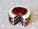Chocolate Black Forest Cake Dessert Magnet, Polymer Clay