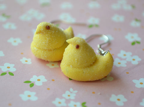 Easter Marshmallow chicks dangle earrings