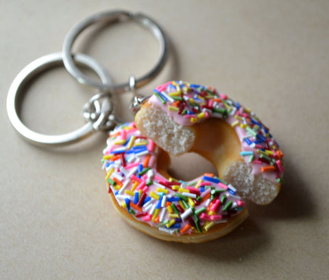Best Friend Doughnut Half Key Chain BBF Set