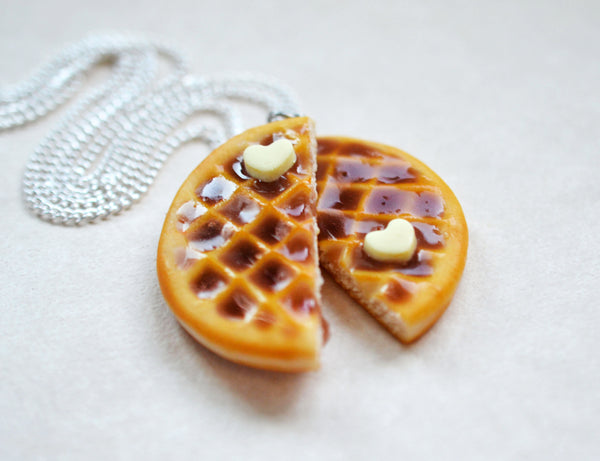 Waffle necklace realistic food jewelry ice cream scoop statement necklace sprinkles chocolate vanilla realistic food prop waffles dessert