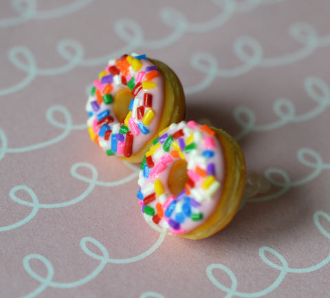 Strawberry Pink Doughnut Post Earrings, Polymer Clay