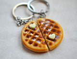 Waffle Best Friend Key Chain set BFF friendship set