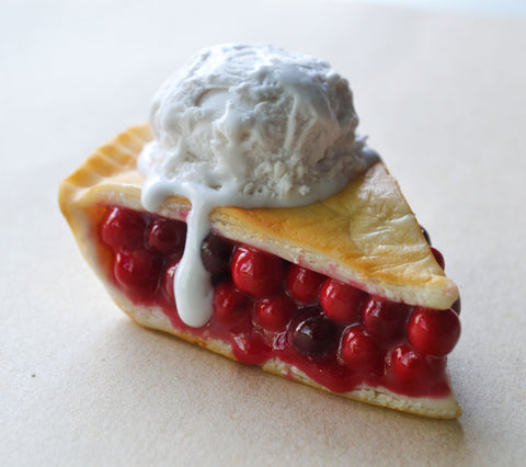 Cherry Pie Slice with Ice Cream Fridge Magnet