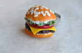 Cheeseburger Polymer Clay Food Adjustable Ring