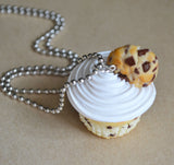 Chocolate Chip Cookie Cupcake Necklace, Polymer Clay Dessert Jewelry