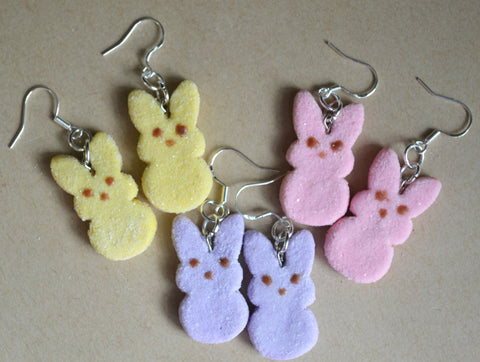 Marshmallow Bunny Hook Earrings