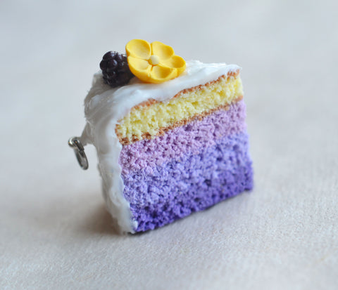 Blackberry Buttercup Lavender Ombre Cake slice Charm or Key Chain