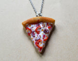 Veggie Pizza Necklace, Pepper and Onion, Polymer Clay Mini Food Necklace