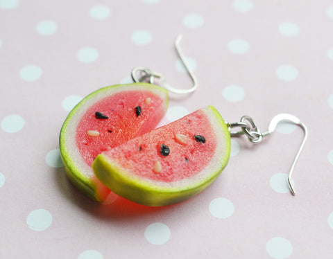 watermelon Slice Dangle Hook Earrings, Polymer Clay Miniature Food Earrings