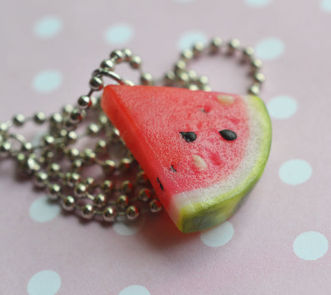 Polymer Clay Miniature Watermelon Slice Food Jewelry Necklace