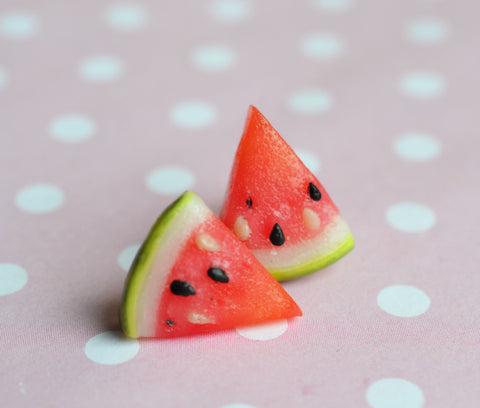 Watermelon Slice Polymer Clay Miniature Food Post Stud Earrings