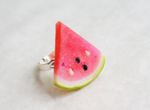 Watermelon Slice Ring, Polymer Clay Food Jewelry