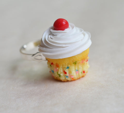 Confetti Vanilla Cupcake Ring, Polymer Clay Miniature Food Jewelry