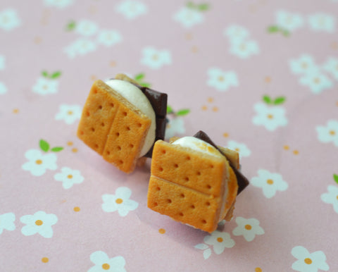 S'more Miniature Food Stud Post Earrings, Polymer Clay Food Earrings