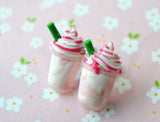 strawberry  frappuccino post earrings, polymer clay miniature food jewelry