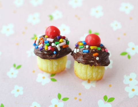 Chocolate with sprinkles cupcake stud earrings, polymer clay mini food jewelry