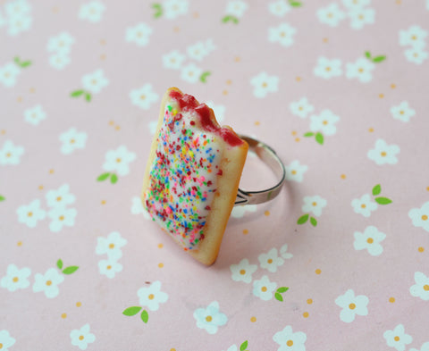 strawberry pop tart ring, polymer clay miniature food jewelry