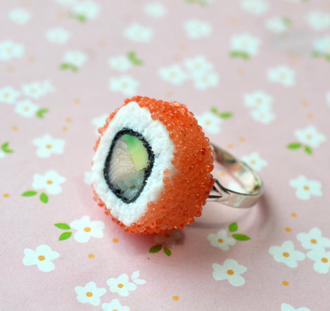 sushi maki California roll ring, polymer clay food jewelry