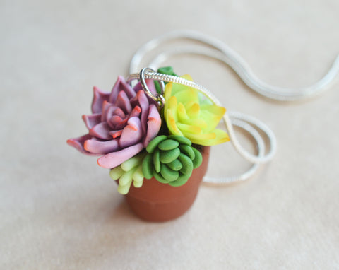 Miniature Succulent Arrangement in Terracotta Pot Polymer Clay Necklace
